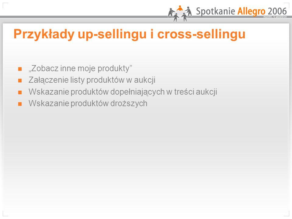 Przykłady up-sellingu i cross-sellingu Zobacz inne moje produkty Załączenie listy produktów w aukcji Wskazanie produktów dopełniających w treści aukcj