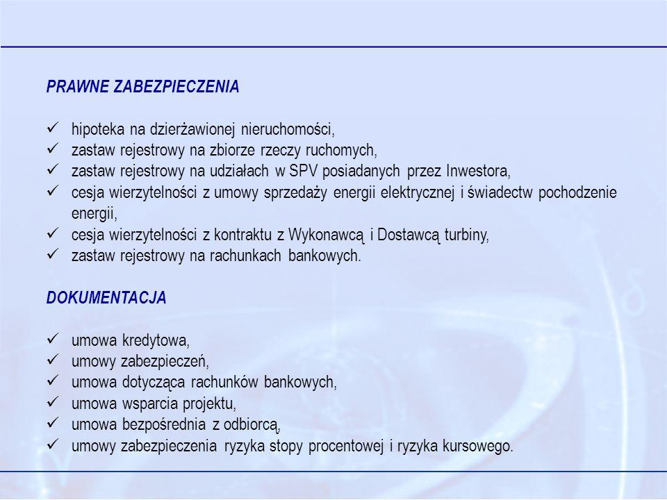 PRAWNE ZABEZPIECZENIA hipoteka na dzierżawionej nieruchomości, zastaw rejestrowy na zbiorze rzeczy ruchomych, zastaw rejestrowy na udziałach w SPV posiadanych przez Inwestora, cesja wierzytelności z umowy sprzedaży energii elektrycznej i świadectw pochodzenie energii, cesja wierzytelności z kontraktu z Wykonawcą i Dostawcą turbiny, zastaw rejestrowy na rachunkach bankowych.
