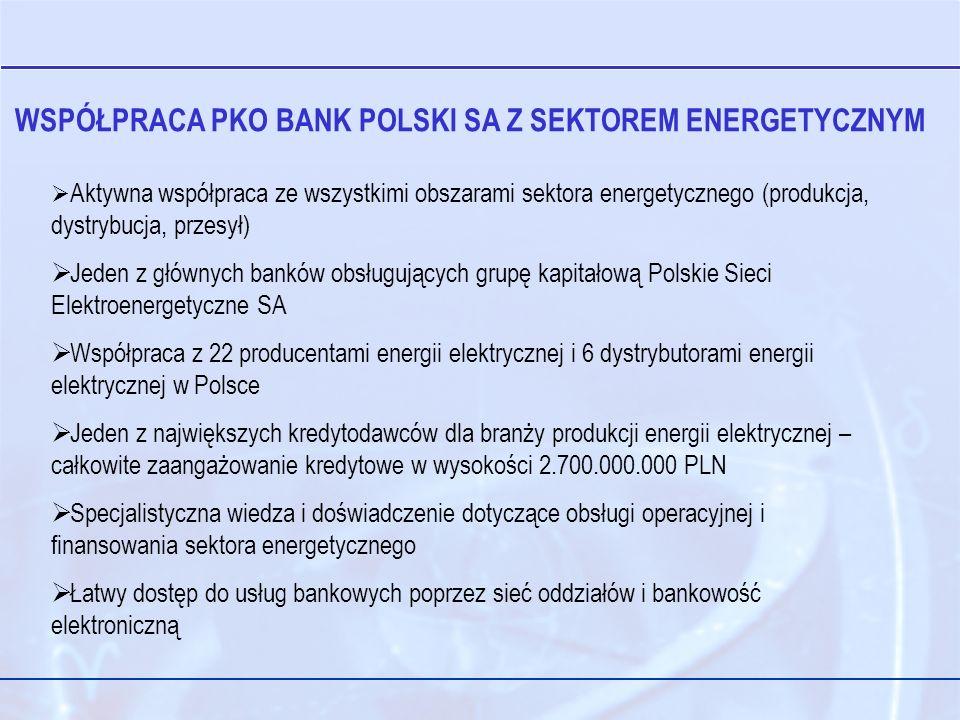 WSPÓŁPRACA PKO BANK POLSKI SA Z SEKTOREM ENERGETYCZNYM Aktywna współpraca ze wszystkimi obszarami sektora energetycznego (produkcja, dystrybucja, przesył) Jeden z głównych banków obsługujących grupę kapitałową Polskie Sieci Elektroenergetyczne SA Współpraca z 22 producentami energii elektrycznej i 6 dystrybutorami energii elektrycznej w Polsce Jeden z największych kredytodawców dla branży produkcji energii elektrycznej – całkowite zaangażowanie kredytowe w wysokości 2.700.000.000 PLN Specjalistyczna wiedza i doświadczenie dotyczące obsługi operacyjnej i finansowania sektora energetycznego Łatwy dostęp do usług bankowych poprzez sieć oddziałów i bankowość elektroniczną