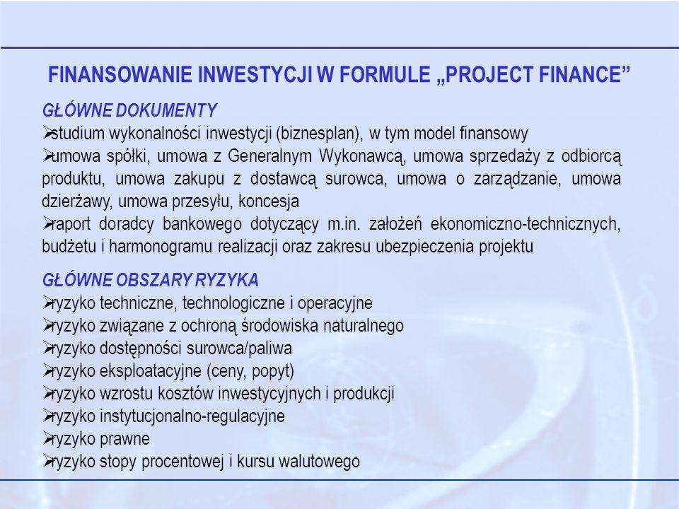 GŁÓWNE DOKUMENTY studium wykonalności inwestycji (biznesplan), w tym model finansowy umowa spółki, umowa z Generalnym Wykonawcą, umowa sprzedaży z odbiorcą produktu, umowa zakupu z dostawcą surowca, umowa o zarządzanie, umowa dzierżawy, umowa przesyłu, koncesja raport doradcy bankowego dotyczący m.in.