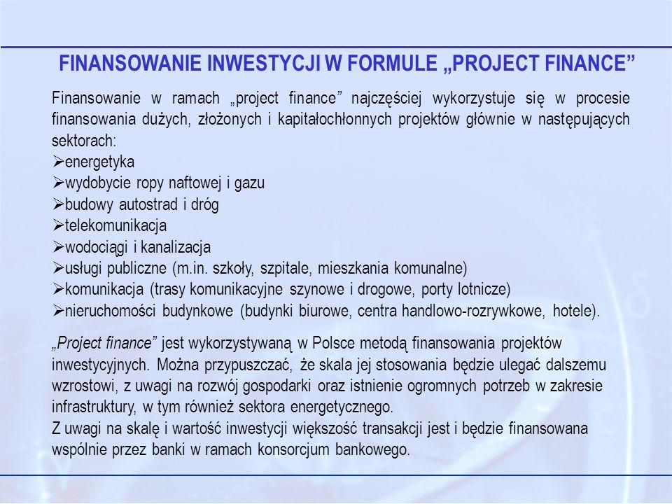 Finansowanie w ramach project finance najczęściej wykorzystuje się w procesie finansowania dużych, złożonych i kapitałochłonnych projektów głównie w następujących sektorach: energetyka wydobycie ropy naftowej i gazu budowy autostrad i dróg telekomunikacja wodociągi i kanalizacja usługi publiczne (m.in.