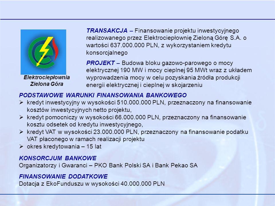 Elektrociepłownia Zielona Góra TRANSAKCJA – Finansowanie projektu inwestycyjnego realizowanego przez Elektrociepłownię Zieloną Górę S.A.