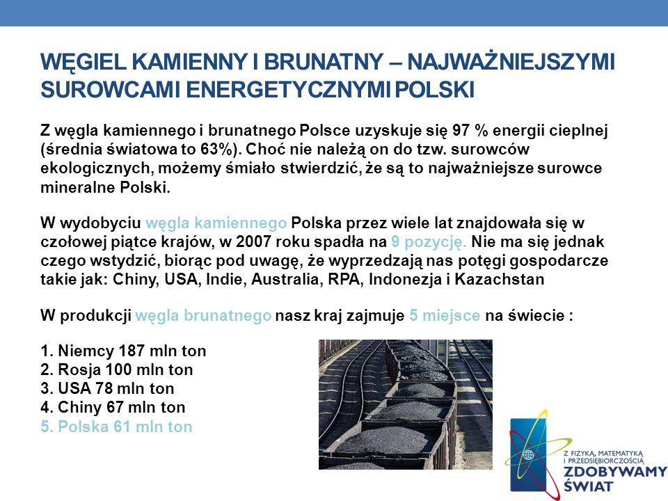 WĘGIEL KAMIENNY I BRUNATNY – NAJWAŻNIEJSZYMI SUROWCAMI ENERGETYCZNYMI POLSKI Z węgla kamiennego i brunatnego Polsce uzyskuje się 97 % energii cieplnej