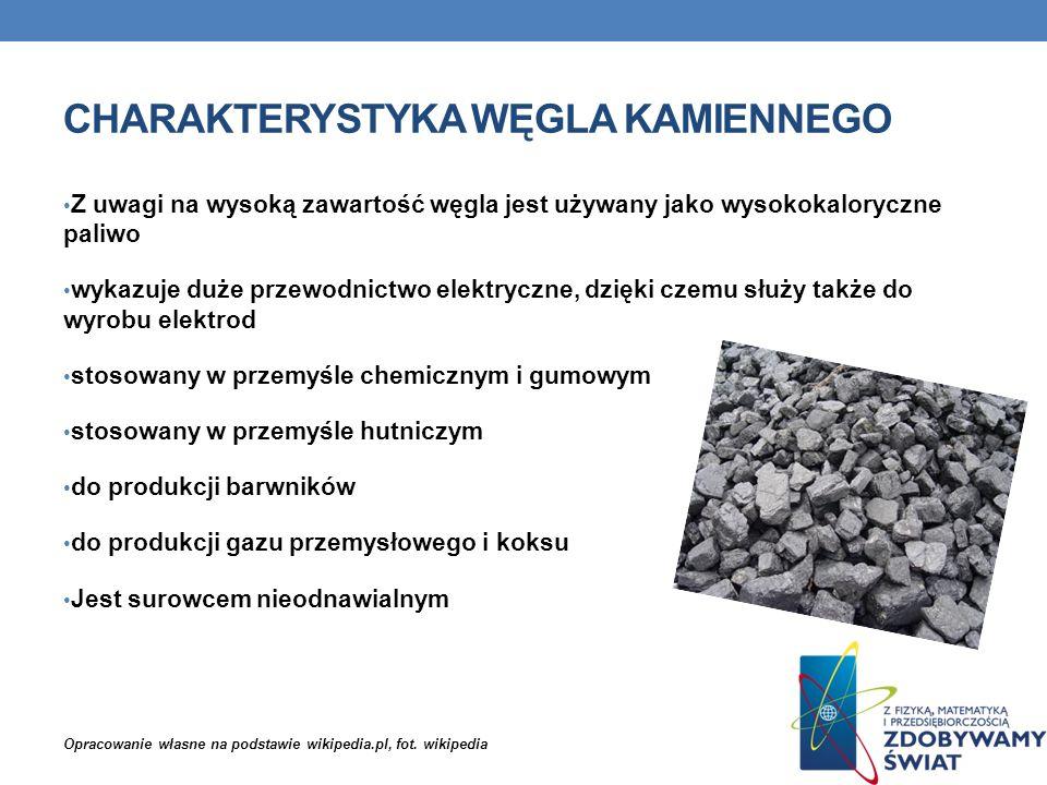 CHARAKTERYSTYKA WĘGLA KAMIENNEGO Z uwagi na wysoką zawartość węgla jest używany jako wysokokaloryczne paliwo wykazuje duże przewodnictwo elektryczne,