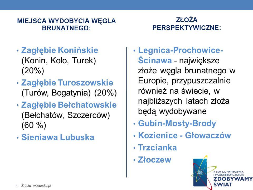 MIEJSCA WYDOBYCIA WĘGLA BRUNATNEGO: Zagłębie Konińskie (Konin, Koło, Turek) (20%) Zagłębie Turoszowskie (Turów, Bogatynia) (20%) Zagłębie Bełchatowski