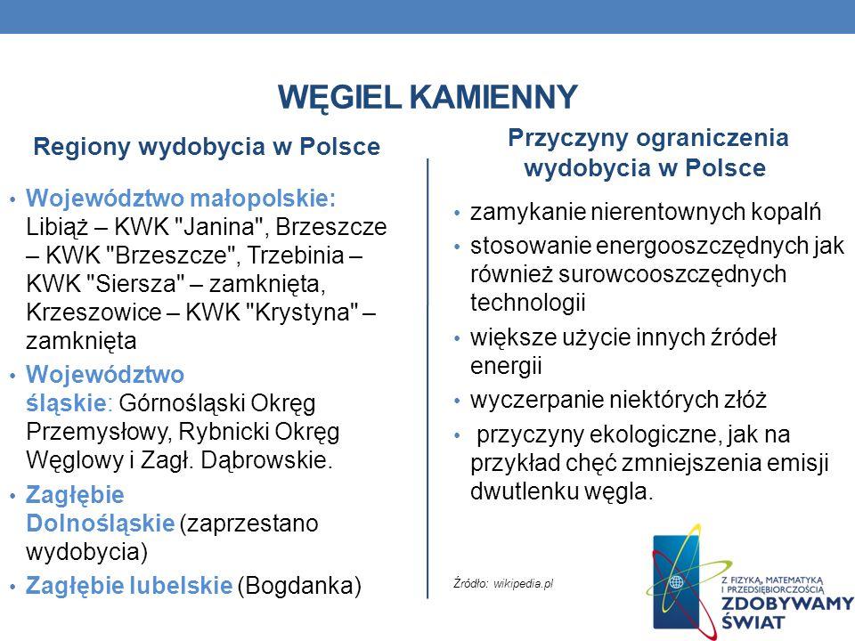 WĘGIEL KAMIENNY Przyczyny ograniczenia wydobycia w Polsce zamykanie nierentownych kopalń stosowanie energooszczędnych jak również surowcooszczędnych t