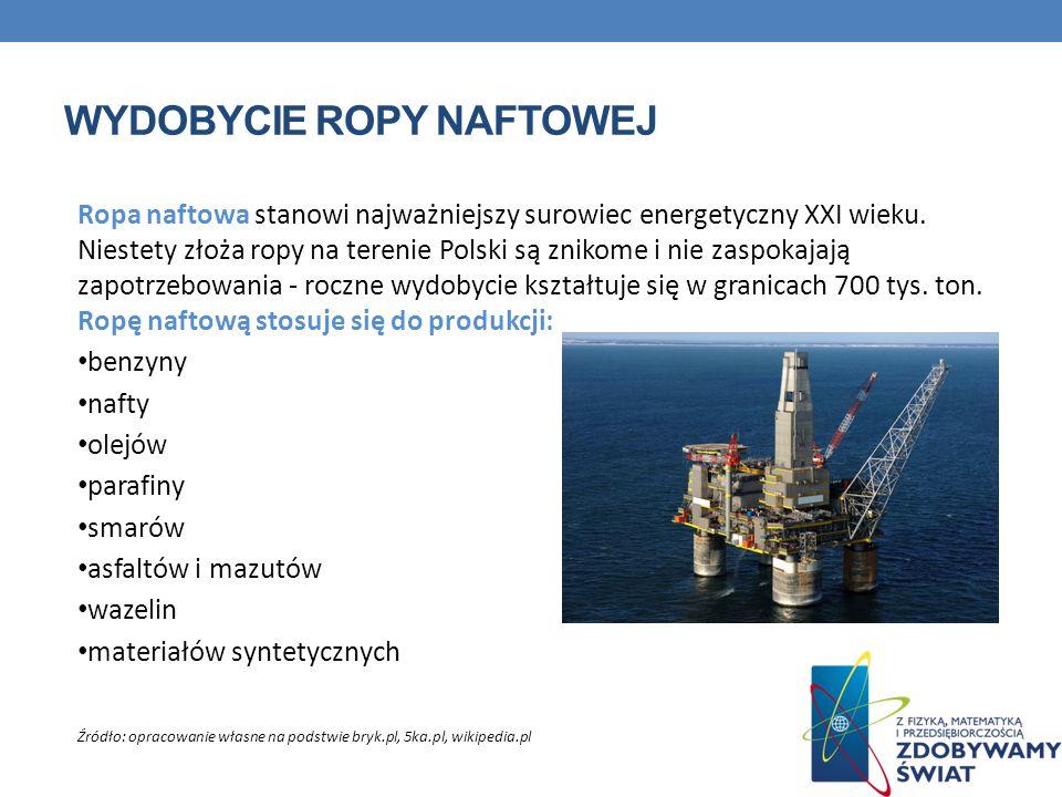 WYDOBYCIE ROPY NAFTOWEJ Ropa naftowa stanowi najważniejszy surowiec energetyczny XXI wieku. Niestety złoża ropy na terenie Polski są znikome i nie zas