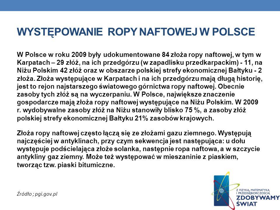 WYSTĘPOWANIE ROPY NAFTOWEJ W POLSCE W Polsce w roku 2009 były udokumentowane 84 złoża ropy naftowej, w tym w Karpatach – 29 złóż, na ich przedgórzu (w