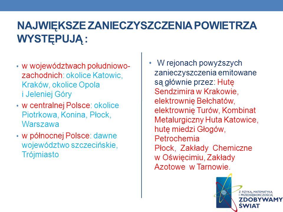 NAJWIĘKSZE ZANIECZYSZCZENIA POWIETRZA WYSTĘPUJĄ : w województwach południowo- zachodnich: okolice Katowic, Kraków, okolice Opola i Jeleniej Góry w cen