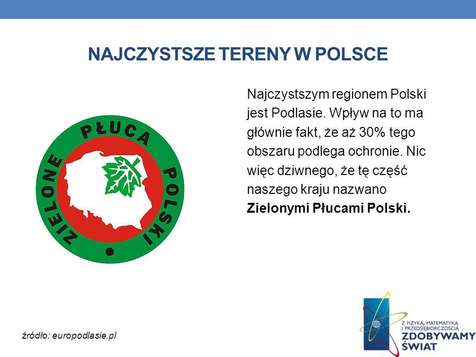NAJCZYSTSZE TERENY W POLSCE Najczystszym regionem Polski jest Podlasie. Wpływ na to ma głównie fakt, że aż 30% tego obszaru podlega ochronie. Nic więc