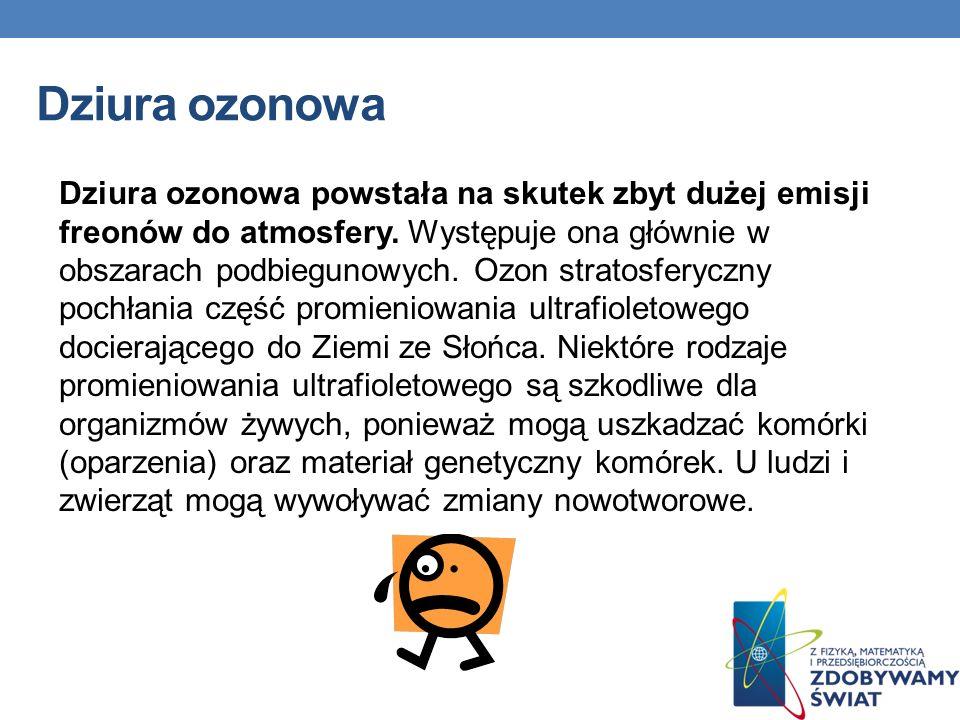 Dziura ozonowa Dziura ozonowa powstała na skutek zbyt dużej emisji freonów do atmosfery. Występuje ona głównie w obszarach podbiegunowych. Ozon strato