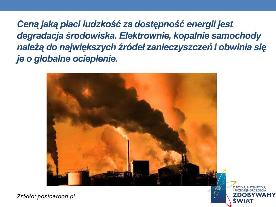 Ceną jaką płaci ludzkość za dostępność energii jest degradacja środowiska. Elektrownie, kopalnie samochody należą do największych źródeł zanieczyszcze