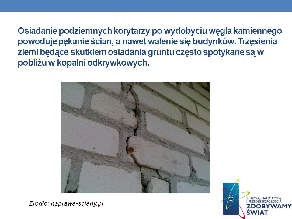 Osiadanie podziemnych korytarzy po wydobyciu węgla kamiennego powoduje pękanie ścian, a nawet walenie się budynków. Trzęsienia ziemi będące skutkiem o