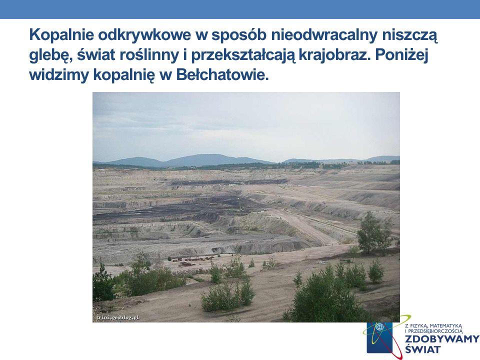 Kopalnie odkrywkowe w sposób nieodwracalny niszczą glebę, świat roślinny i przekształcają krajobraz. Poniżej widzimy kopalnię w Bełchatowie.