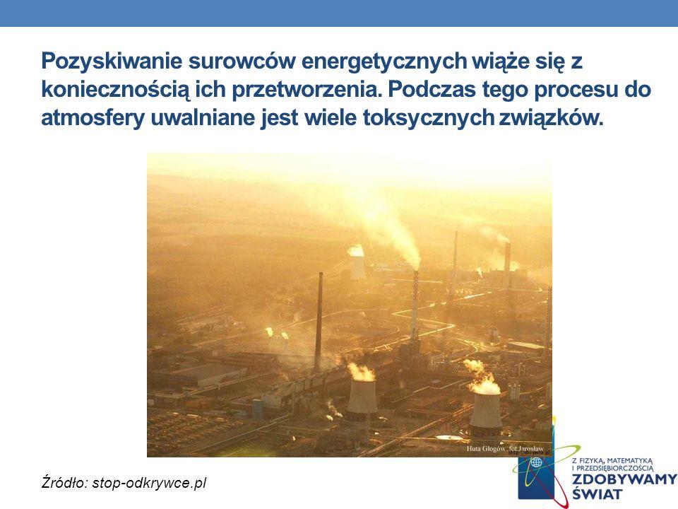 Pozyskiwanie surowców energetycznych wiąże się z koniecznością ich przetworzenia. Podczas tego procesu do atmosfery uwalniane jest wiele toksycznych z