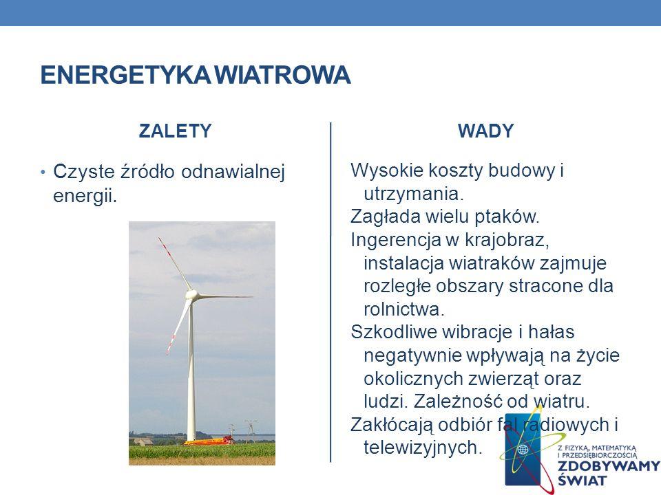 ENERGETYKA WIATROWA ZALETY Czyste źródło odnawialnej energii. WADY Wysokie koszty budowy i utrzymania. Zagłada wielu ptaków. Ingerencja w krajobraz, i