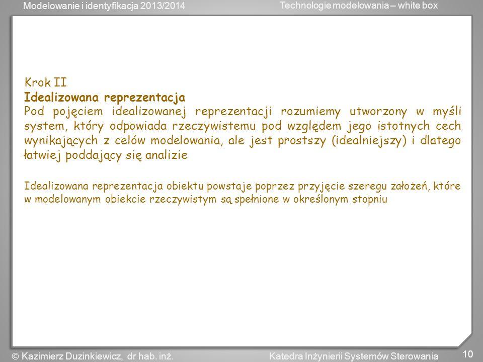 Modelowanie i identyfikacja 2013/2014 Technologie modelowania – white box 10 Katedra Inżynierii Systemów Sterowania Kazimierz Duzinkiewicz, dr hab. in