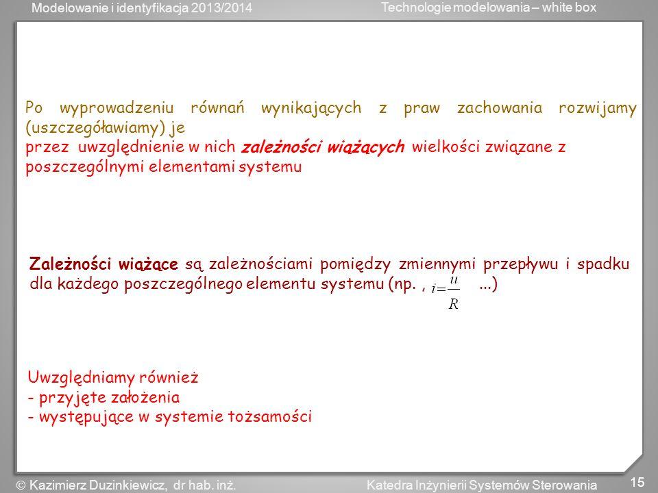 Modelowanie i identyfikacja 2013/2014 Technologie modelowania – white box 15 Katedra Inżynierii Systemów Sterowania Kazimierz Duzinkiewicz, dr hab. in