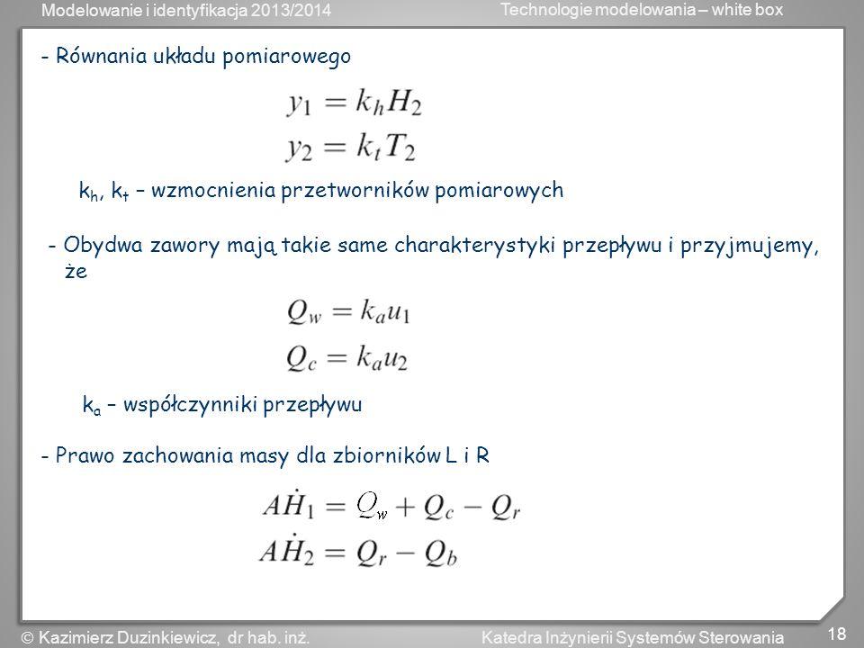 Modelowanie i identyfikacja 2013/2014 Technologie modelowania – white box 19 Katedra Inżynierii Systemów Sterowania Kazimierz Duzinkiewicz, dr hab.
