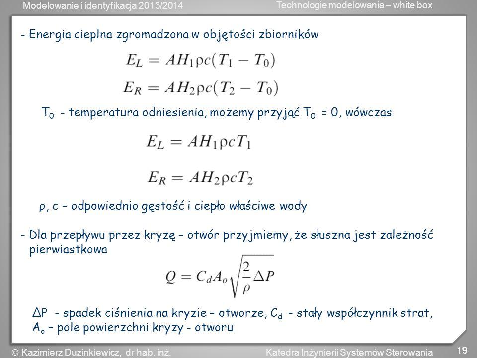 Modelowanie i identyfikacja 2013/2014 Technologie modelowania – white box 20 Katedra Inżynierii Systemów Sterowania Kazimierz Duzinkiewicz, dr hab.