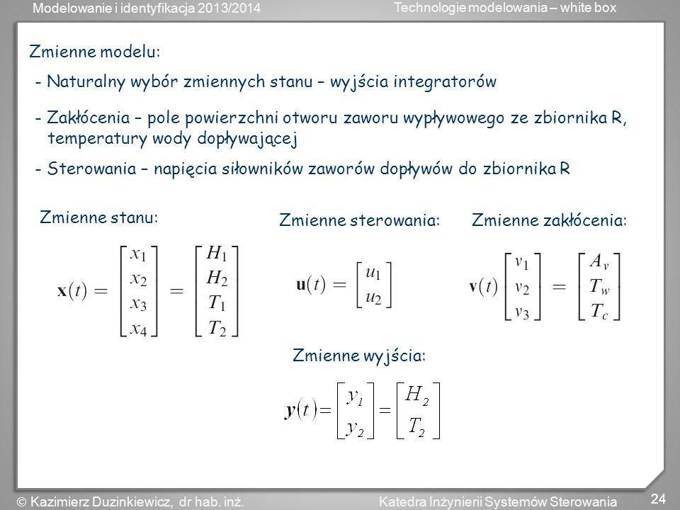 Modelowanie i identyfikacja 2013/2014 Technologie modelowania – white box 24 Katedra Inżynierii Systemów Sterowania Kazimierz Duzinkiewicz, dr hab. in