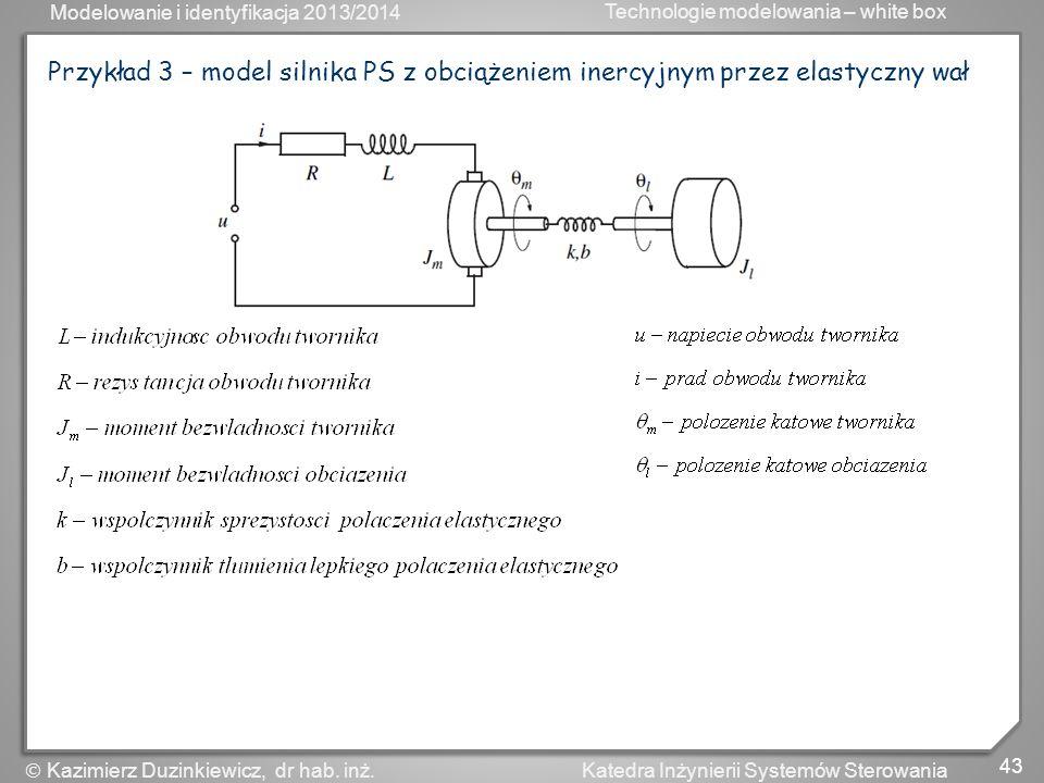 Modelowanie i identyfikacja 2013/2014 Technologie modelowania – white box 43 Katedra Inżynierii Systemów Sterowania Kazimierz Duzinkiewicz, dr hab. in