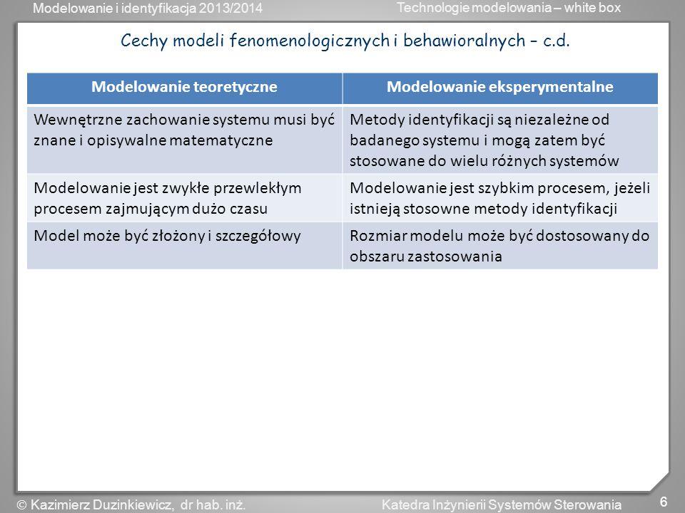 Modelowanie i identyfikacja 2013/2014 Technologie modelowania – white box 6 Katedra Inżynierii Systemów Sterowania Kazimierz Duzinkiewicz, dr hab. inż