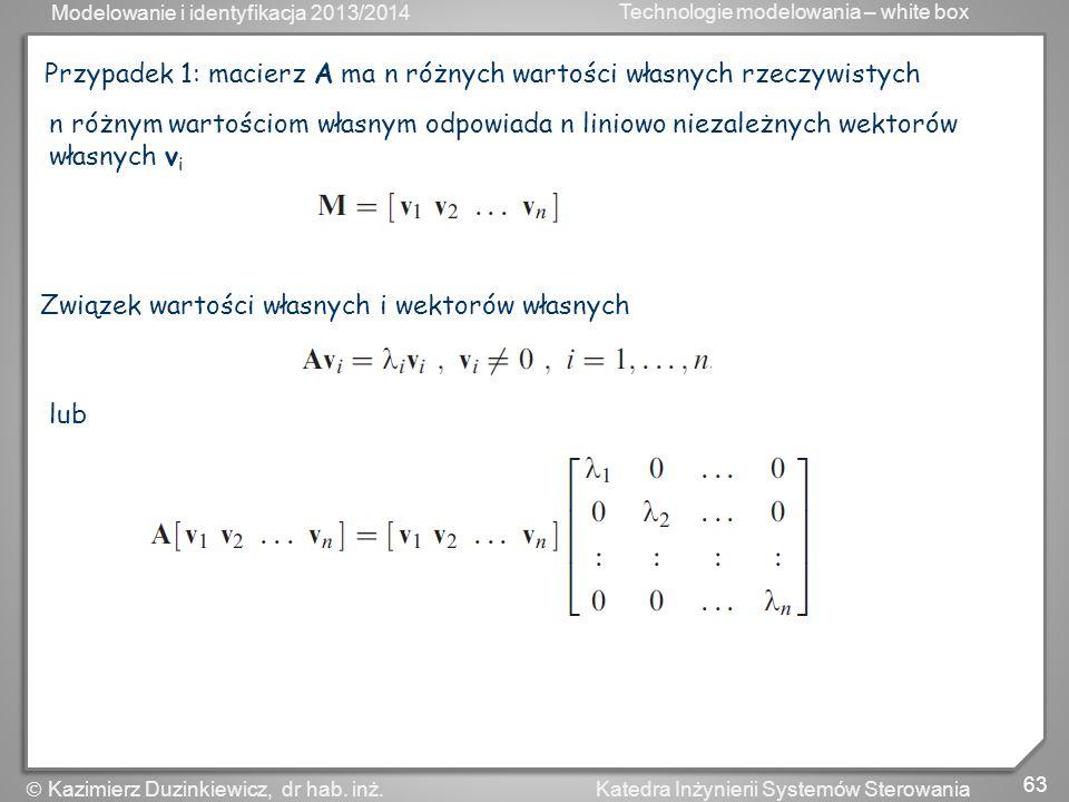 Modelowanie i identyfikacja 2013/2014 Technologie modelowania – white box 64 Katedra Inżynierii Systemów Sterowania Kazimierz Duzinkiewicz, dr hab.