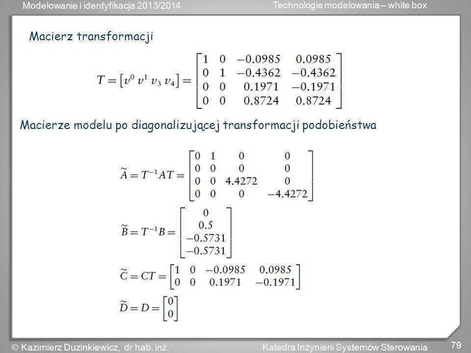 Modelowanie i identyfikacja 2013/2014 Technologie modelowania – white box 80 Katedra Inżynierii Systemów Sterowania Kazimierz Duzinkiewicz, dr hab.