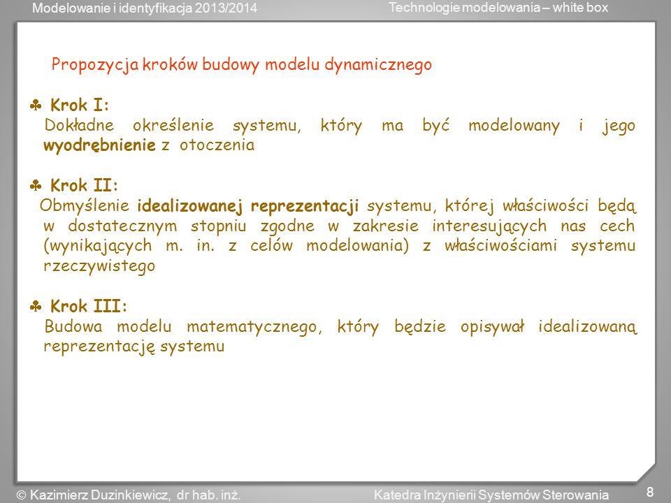Modelowanie i identyfikacja 2013/2014 Technologie modelowania – white box 9 Katedra Inżynierii Systemów Sterowania Kazimierz Duzinkiewicz, dr hab.