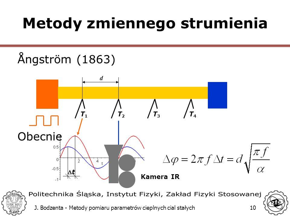 J. Bodzenta - Metody pomiaru parametrów cieplnych cial stałych10 Metody zmiennego strumienia Ångström (1863) T1T1 T2T2 T3T3 T4T4 d t Obecnie Kamera IR