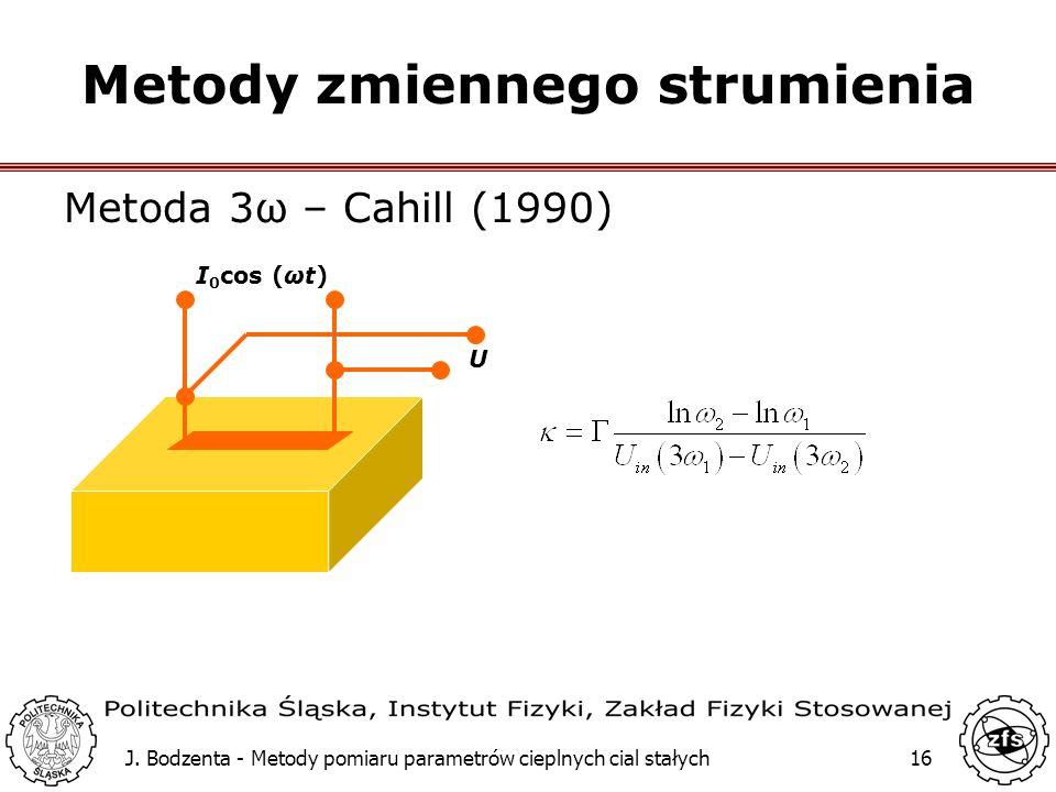 J. Bodzenta - Metody pomiaru parametrów cieplnych cial stałych16 Metody zmiennego strumienia Metoda 3ω – Cahill (1990) I 0 cos (ωt) U