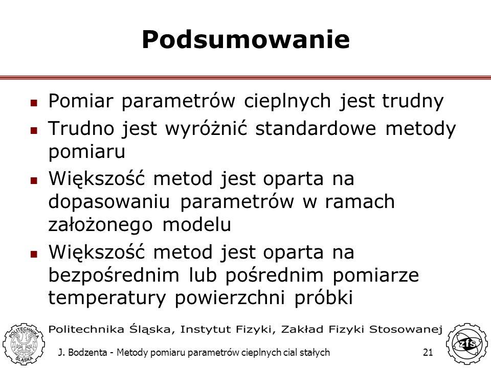 J. Bodzenta - Metody pomiaru parametrów cieplnych cial stałych21 Podsumowanie Pomiar parametrów cieplnych jest trudny Trudno jest wyróżnić standardowe