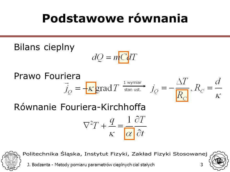 J. Bodzenta - Metody pomiaru parametrów cieplnych cial stałych3 Bilans cieplny Prawo Fouriera Równanie Fouriera-Kirchhoffa Podstawowe równania 1 wymia