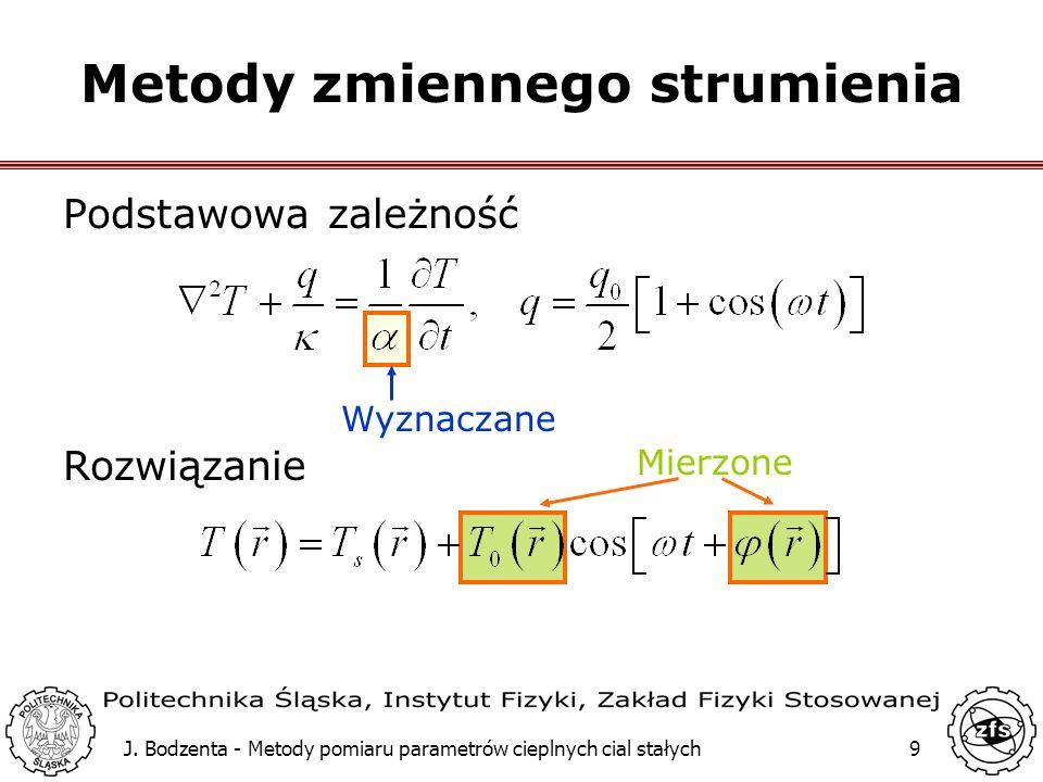 J. Bodzenta - Metody pomiaru parametrów cieplnych cial stałych9 Mierzone Wyznaczane Metody zmiennego strumienia Podstawowa zależność Rozwiązanie