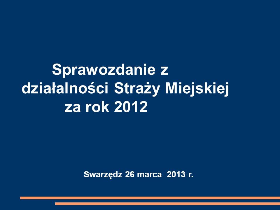 Swarzędz 26 marca 2013 r. Sprawozdanie z działalności Straży Miejskiej za rok 2012