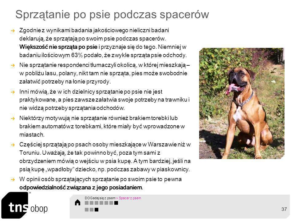 Sprzątanie po psie podczas spacer ó w Zgodnie z wynikami badania jakościowego nieliczni badani deklarują, że sprzątają po swoim psie podczas spacer ó