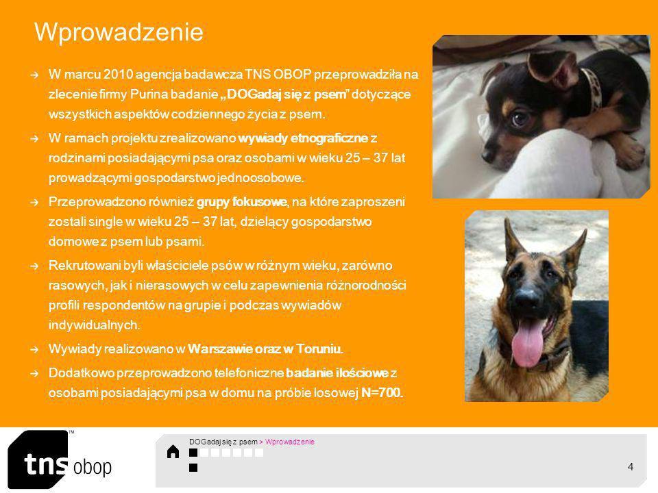 Wprowadzenie W marcu 2010 agencja badawcza TNS OBOP przeprowadziła na zlecenie firmy Purina badanie DOGadaj się z psem dotyczące wszystkich aspekt ó w