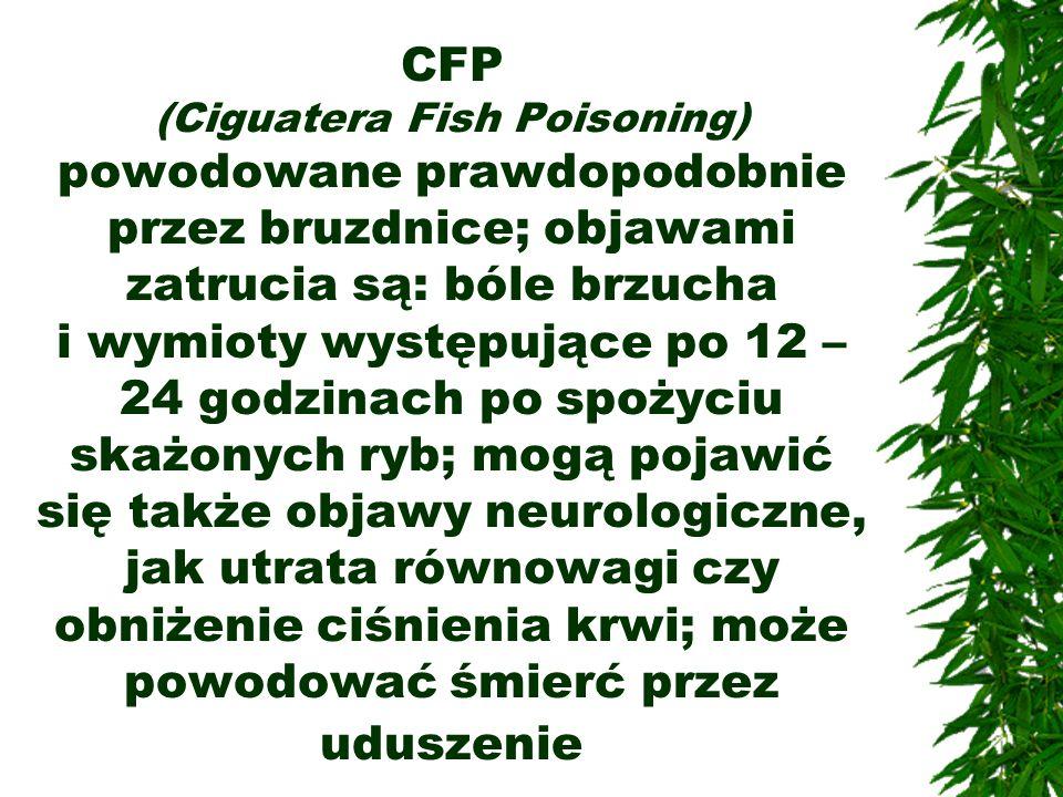 CFP (Ciguatera Fish Poisoning) powodowane prawdopodobnie przez bruzdnice; objawami zatrucia są: bóle brzucha i wymioty występujące po 12 – 24 godzinac