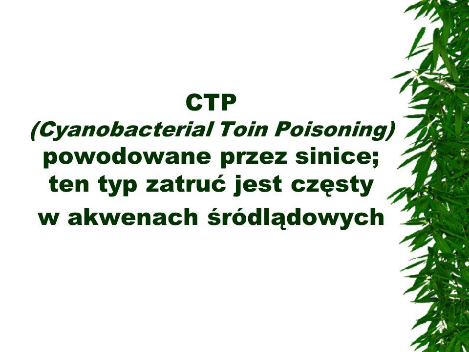 CTP (Cyanobacterial Toin Poisoning) powodowane przez sinice; ten typ zatruć jest częsty w akwenach śródlądowych