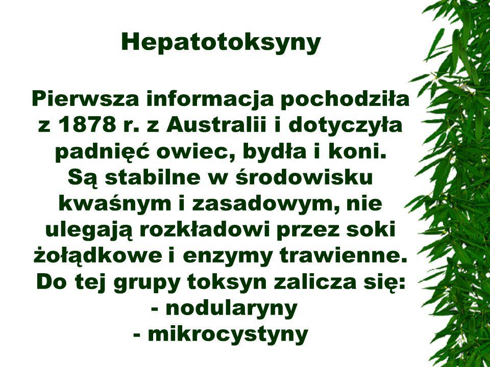 Hepatotoksyny Pierwsza informacja pochodziła z 1878 r. z Australii i dotyczyła padnięć owiec, bydła i koni. Są stabilne w środowisku kwaśnym i zasadow