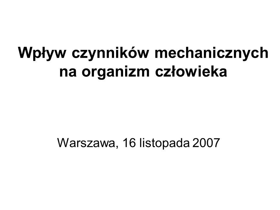 Wpływ czynników mechanicznych na organizm człowieka Warszawa, 16 listopada 2007