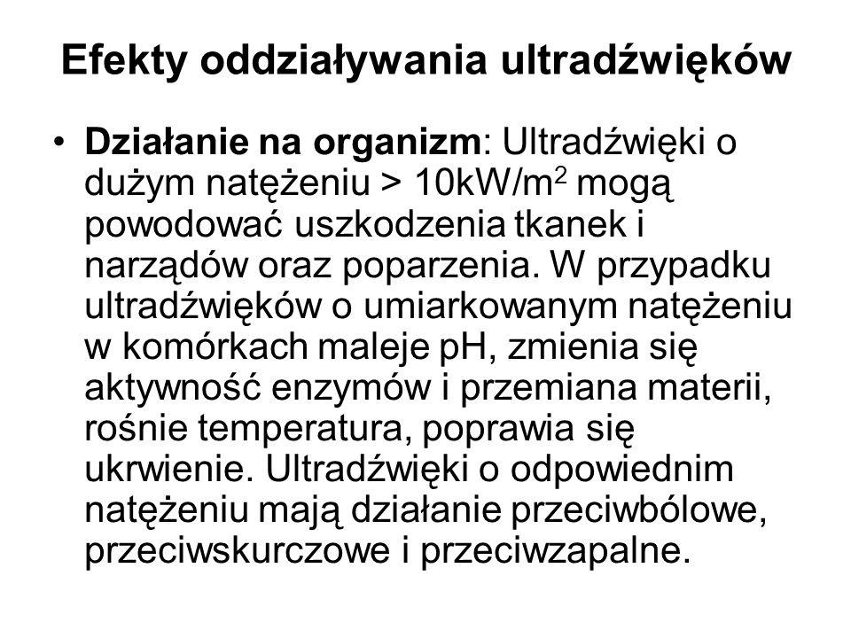 Efekty oddziaływania ultradźwięków Działanie na organizm: Ultradźwięki o dużym natężeniu > 10kW/m 2 mogą powodować uszkodzenia tkanek i narządów oraz