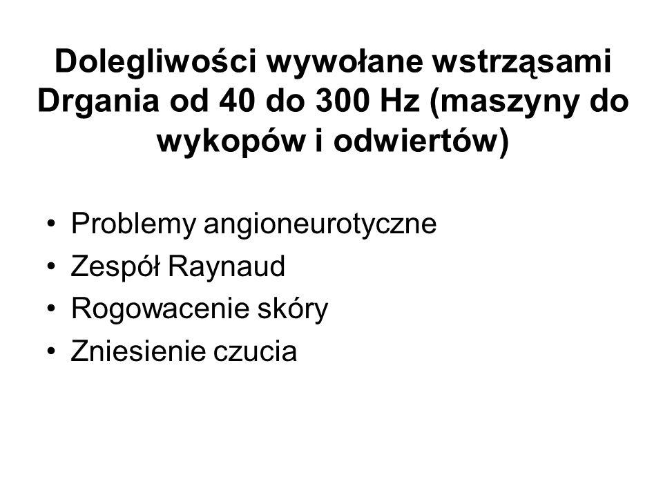 Dolegliwości wywołane wstrząsami Drgania od 40 do 300 Hz (maszyny do wykopów i odwiertów) Problemy angioneurotyczne Zespół Raynaud Rogowacenie skóry Z