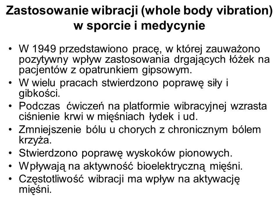 Zastosowanie wibracji (whole body vibration) w sporcie i medycynie W 1949 przedstawiono pracę, w której zauważono pozytywny wpływ zastosowania drgając