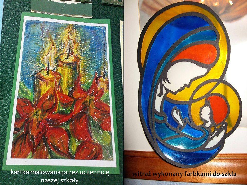 kartka malowana przez uczennicę naszej szkoły witraż wykonany farbkami do szkła