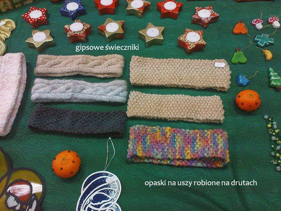 gipsowe świeczniki opaski na uszy robione na drutach