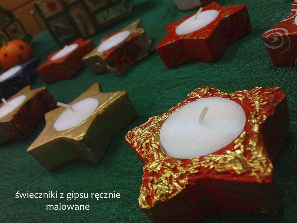 świeczniki z gipsu ręcznie malowane