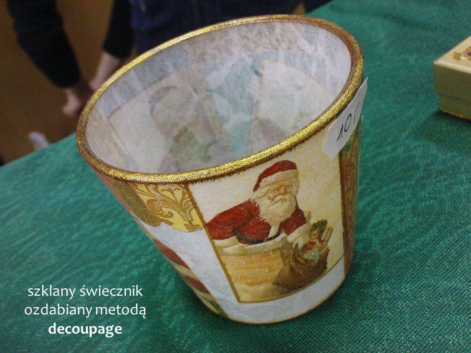 szklany świecznik ozdabiany metodą decoupage