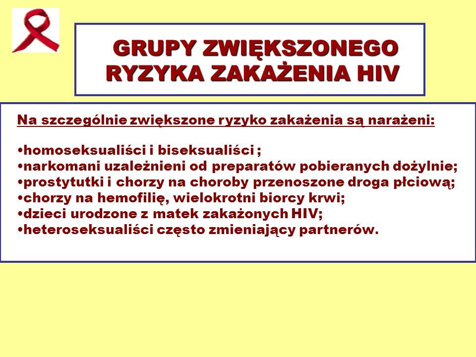 GRUPY ZWIĘKSZONEGO RYZYKA ZAKAŻENIA HIV Na szczególnie zwiększone ryzyko zakażenia są narażeni: homoseksualiści i biseksualiści ; narkomani uzależnien